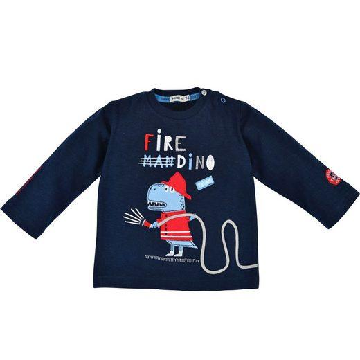 """BONDI Langarmshirt »Baby Jungen Pullover """"Fire Dino"""" 91431, Blau - Geringelt Feuerwehr Dinosaurier Motiv«"""