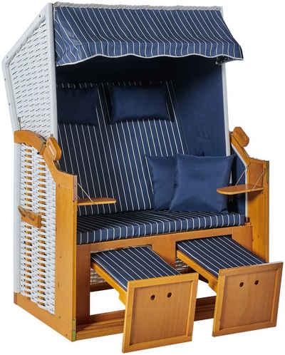 KONIFERA Strandkorb »Amrum«, BxTxH: 115x72x150 cm, Halblieger, Ostsee-Modell, BxTxH: 115x150x72 cm, 2-Sitzer