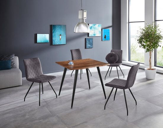HELA Baumkantentisch »Jule III«, Tischplatte quadratisch 90x90 cm