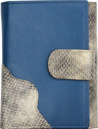 DrachenLeder Geldbörse »OPS700W DrachenLeder Geldbörse Brieftasche blau« (Portemonnaie), Damen, Jugend Portemonnaie Echtleder, blau, grau ca. 10cm x ca. 13cm
