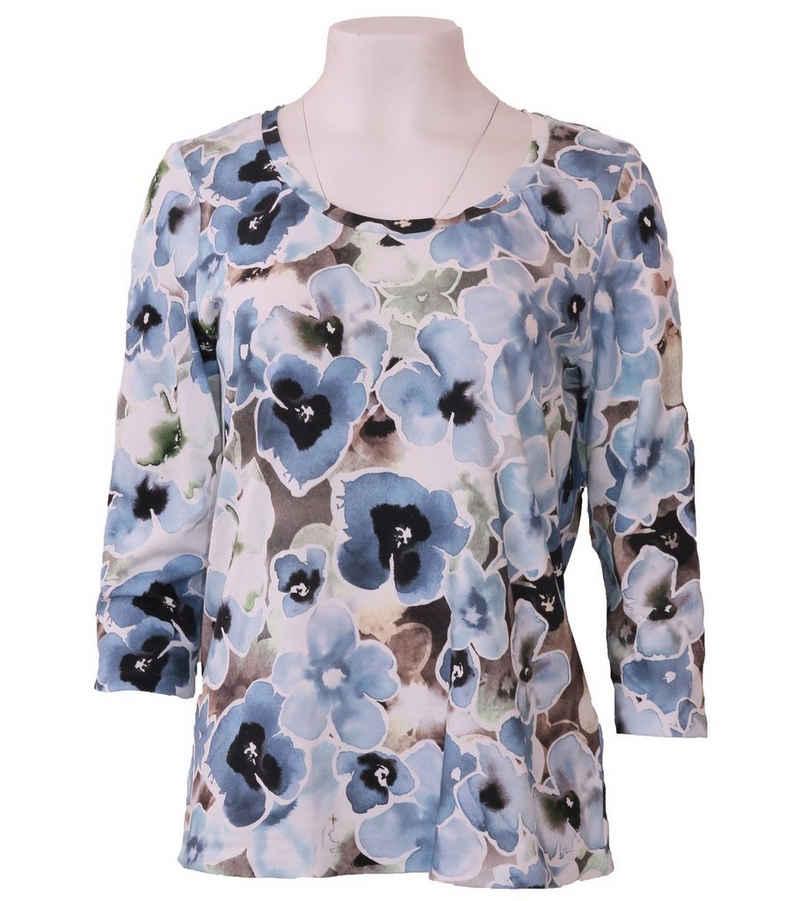 Margittes Rundhalsshirt »MARGITTES Rundhals-Shirt florales Damen Rundhals-Shirt mit Allover-Print Trend-Shirt Blau«