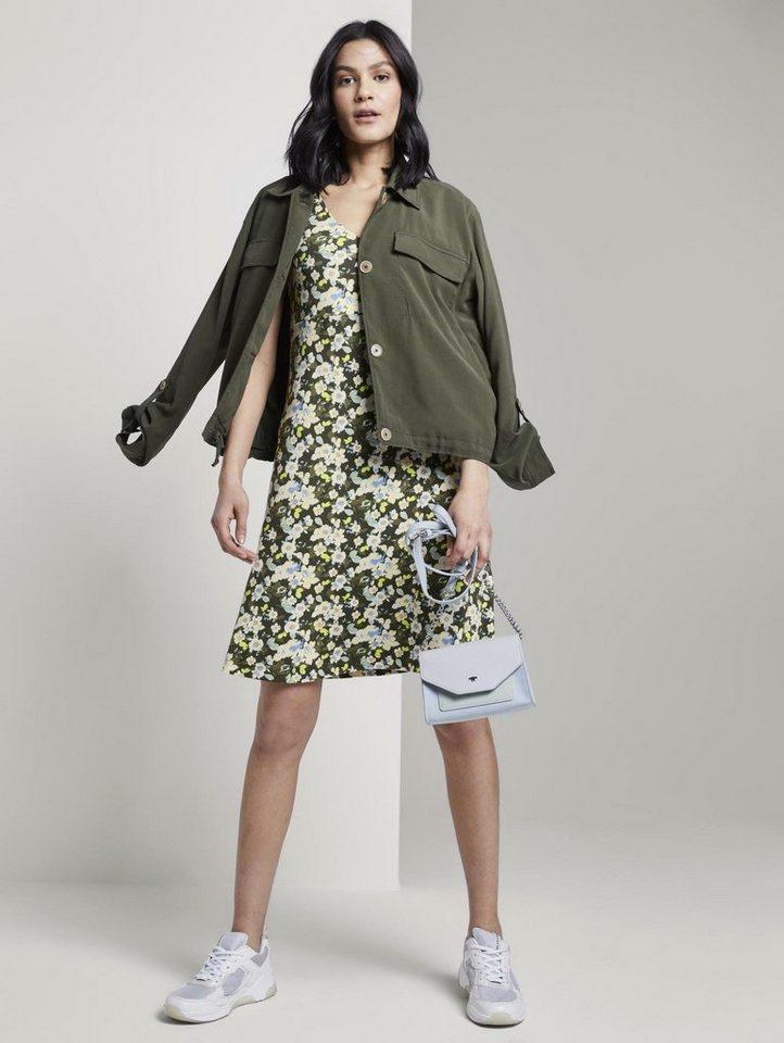 tom tailor -  Druckkleid »Gemustertes Kleid mit V-Ausschnitt«