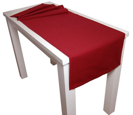 beties Tischläufer »Farbenspiel«, ca. 40x150 cm Tischband in interessanter Größen- und Farbauswahl 100% Baumwolle für eine fröhlich Stimmung Uni Farbe (Karmin-Rot)