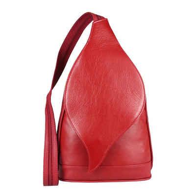 ITALYSHOP24 Rucksack »Made in Italy Damen Leder Rucksack Schultertasche«, als Umhängetasche & Handtasche tragbar
