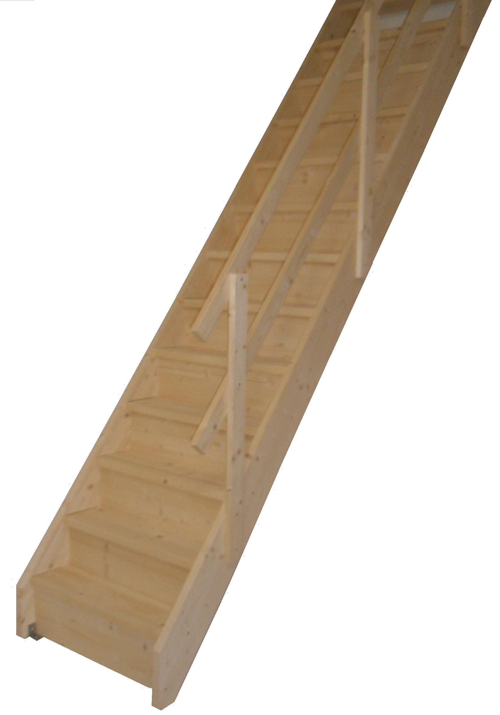 STARWOOD Raumspartreppe »Korfu«, geschl. Stufen, gerade, Holzgeländer rechts