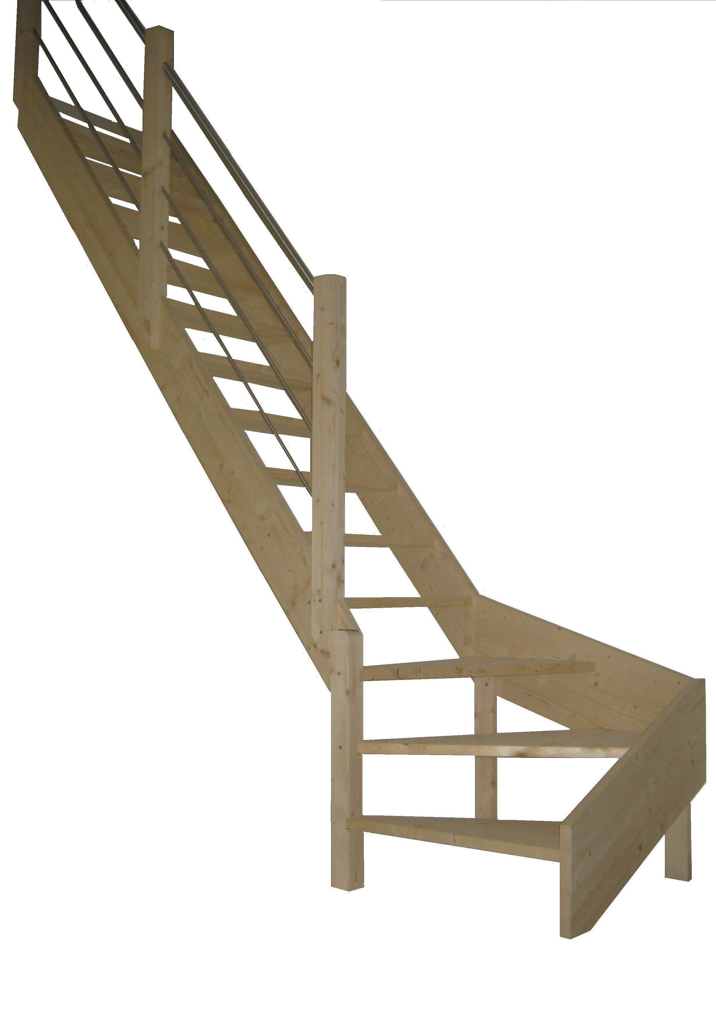 STARWOOD Raumspartreppe »Korfu«, offene Stufen, 1/4 links gewendelt, Holz-Edelstahlgel. links