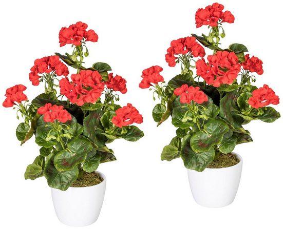 Kunstpflanze »Geranienbusch rot«, 2er Set, im Keramiktopf, H: 40 cm