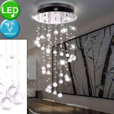 Globo LED-Hängeleuchte, LED Decken Leuchte Wohn Zimmer Beleuchtung Chrom Hänge Lampe Kristall Pendel Globo 68595-4