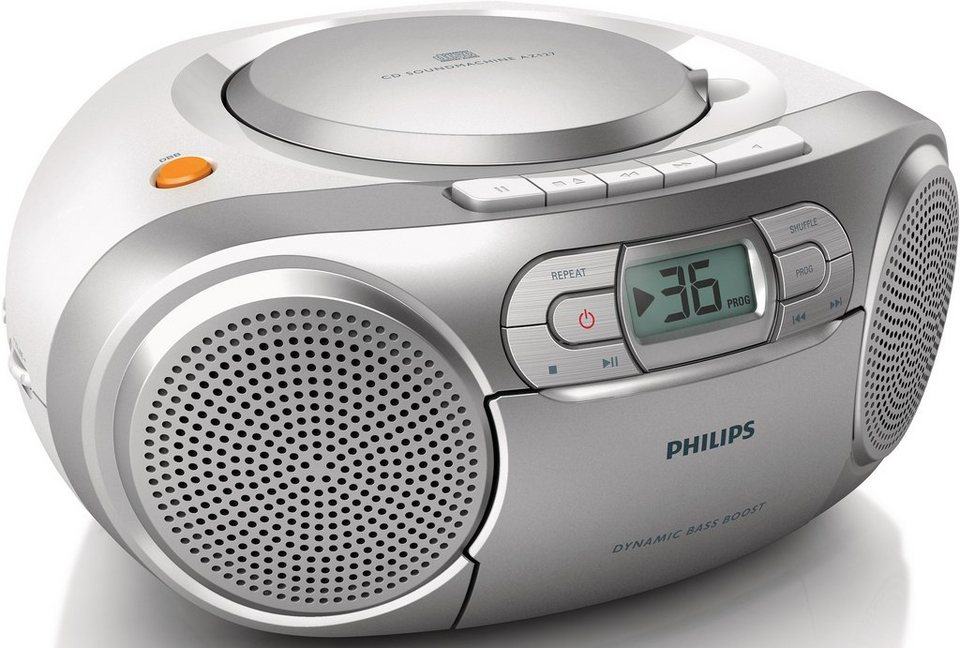 Philips AZ127/12 CD-Soundmachine, Radio, Kassettenplayer in silberfarben