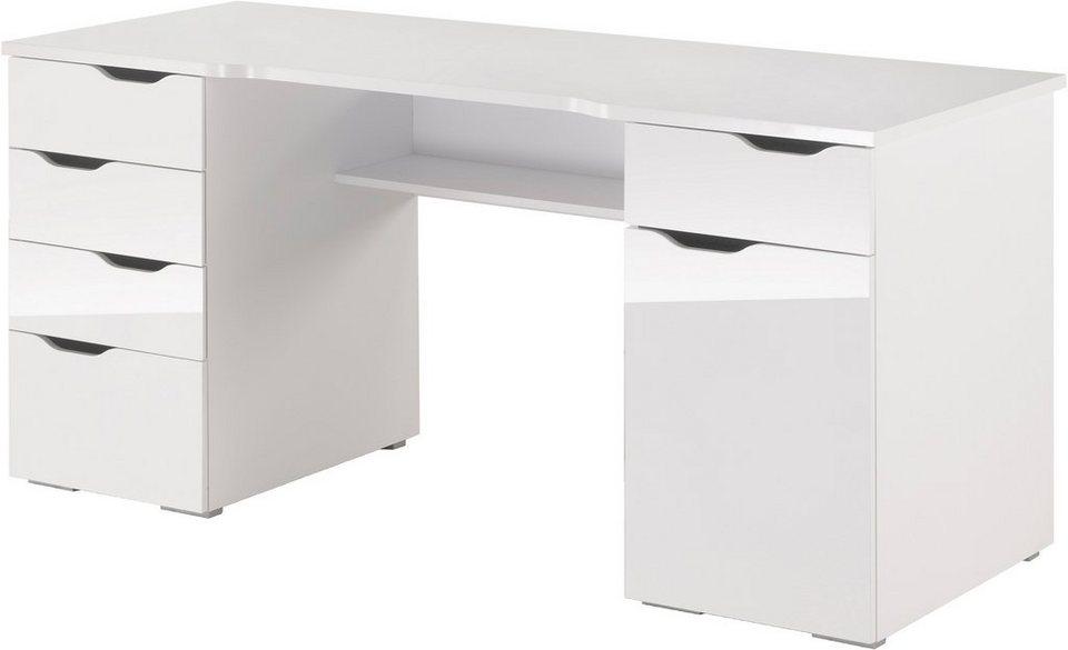 Schreibtischplatte weiß  Schreibtisch, Maja Möbel, »Cuba«, mit geschwungener ...