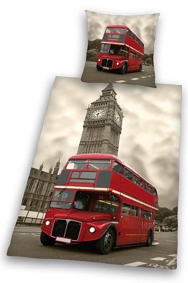 Bettwäsche, Young Collection, »London«, mit Doppeldecker-Bus in grau