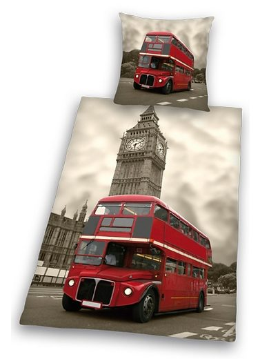 Bettwäsche, Young Collection, »London«, mit Doppeldecker-Bus