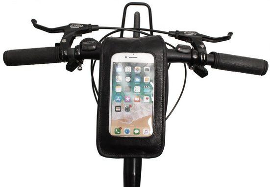 Gusti Leder Rahmentasche »Täve«, Rahmentasche Lenkertasche Handyhalterung kompatibel mit Klickfix Platte Navi-Tasche Fahrradtasche Ledertasche Braun Leder