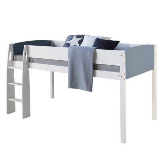 Homestyle4u Hochbett Kinderbett 90x200 cm, weiß-grau inkl. Rollrost
