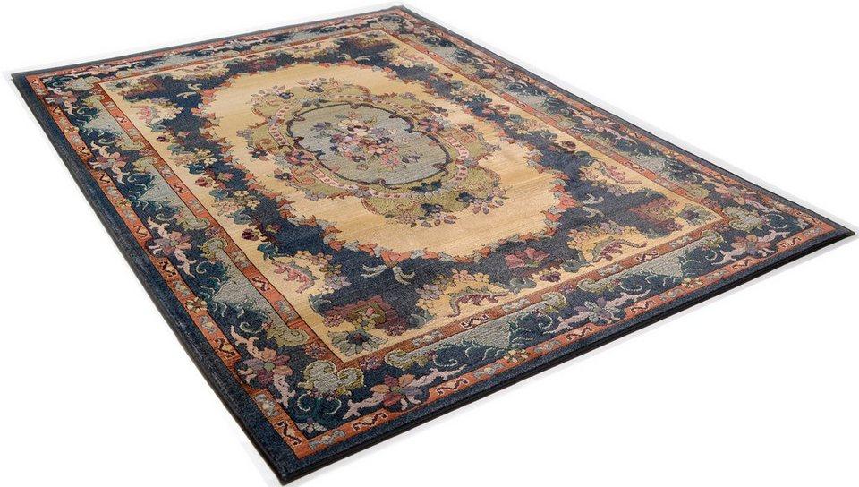 Orient-Teppich, Theko, »Ben«, Melange-Effekt, gewebt in blau