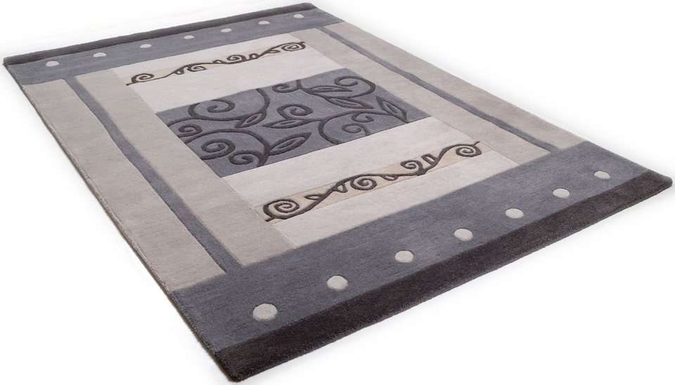 Teppich, »Laura«, handgetuftet, reine Schurwolle in silber-grau