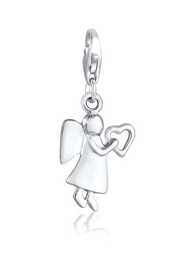 Elli Charm-Einhänger »Schutzengel Herz Talisman Glücksbringer 925 Silber«, Engel