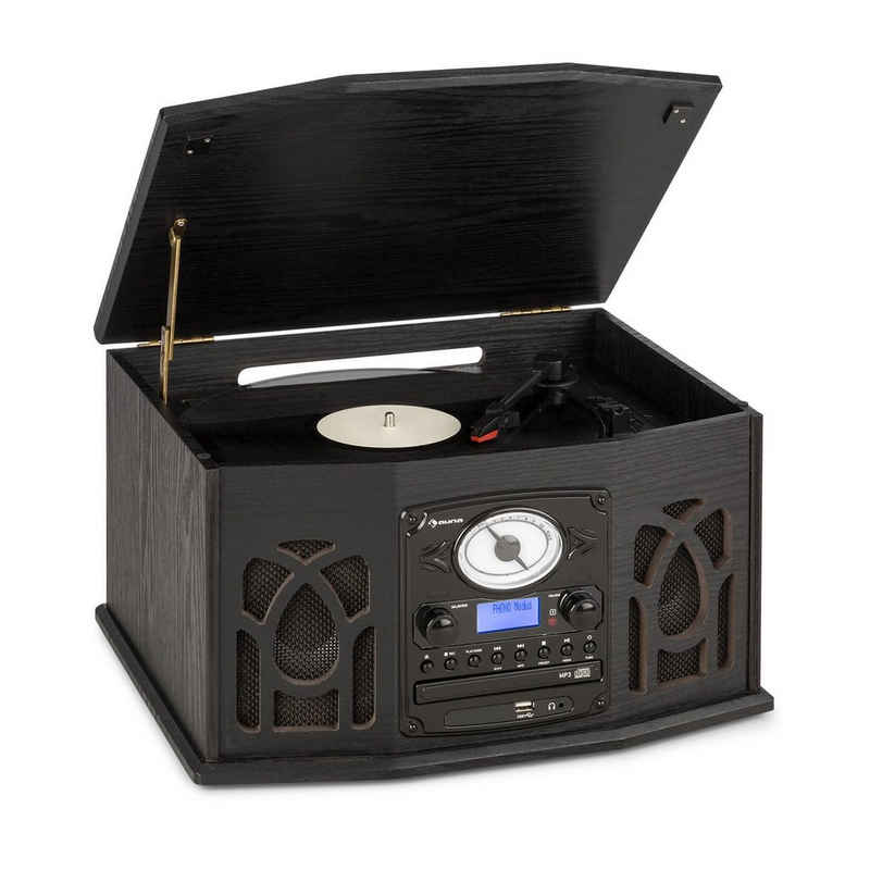 Auna »NR-620 DAB Stereoanlage Holz Plattenspieler DAB+ CD-Player schwarz« Plattenspieler (Bluetooth)