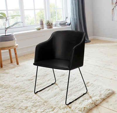 andas Stuhl »Niela« 2er Set, in zwei schönen Bezugsqualitäten, mit Metallgestell, Sitzhöhe 48 cm