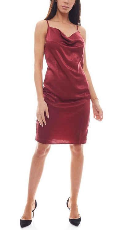 NA-KD Partykleid »NA-KD Mini-Kleid glänzendes Damen Party-Kleid mit Wasserfall-Ausschnitt Cocktail-Kleid Burgunder«