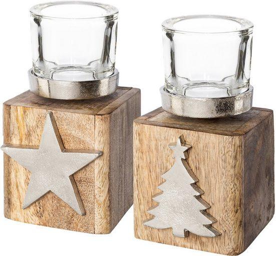my home Teelichthalter »Tannenbaum und Stern« (Set, 2 Stück), auf Holzbase, Höhe ca. 13 cm