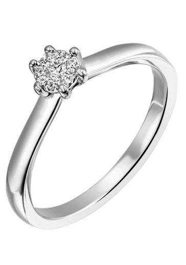 Firetti Diamantring »Verlobung, ca. 2,40 mm breit, mit Krappenfsassung, glänzend, massiv«, mit Brillanten