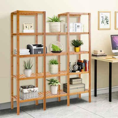 COSTWAY Standregal »Standregal«, mit 5 Ebenen Raumteiler Bücherregal