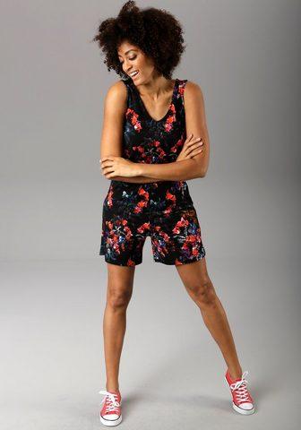 Aniston CASUAL Kurzoverall su bunten Blumendruck in 3...