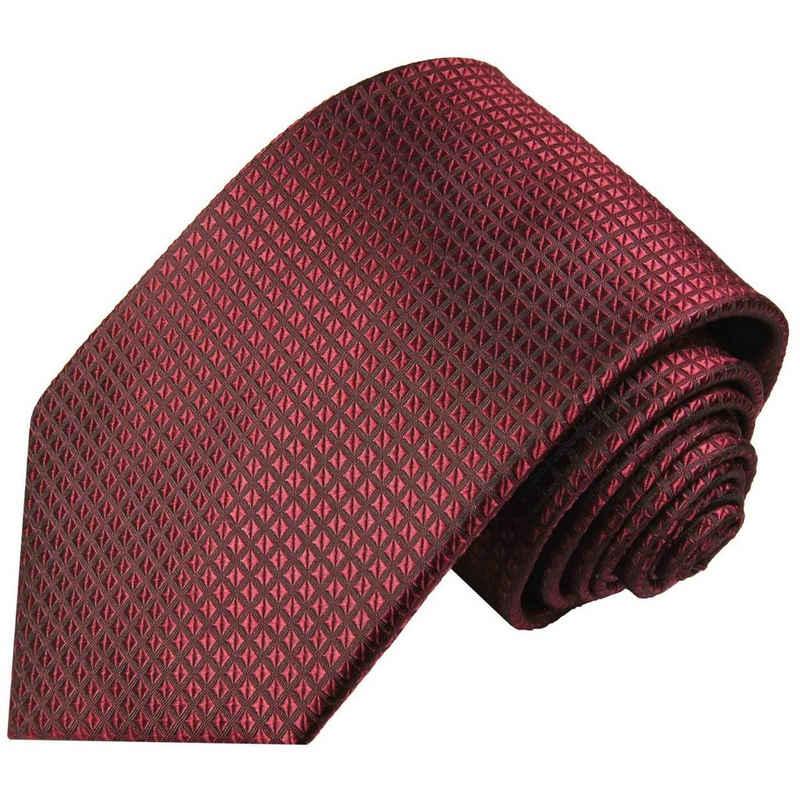 Paul Malone Krawatte »Herren Seidenkrawatte Designer Schlips modern uni Waffelmuster 100% Seide« Schmal (6cm), weinrot 2029