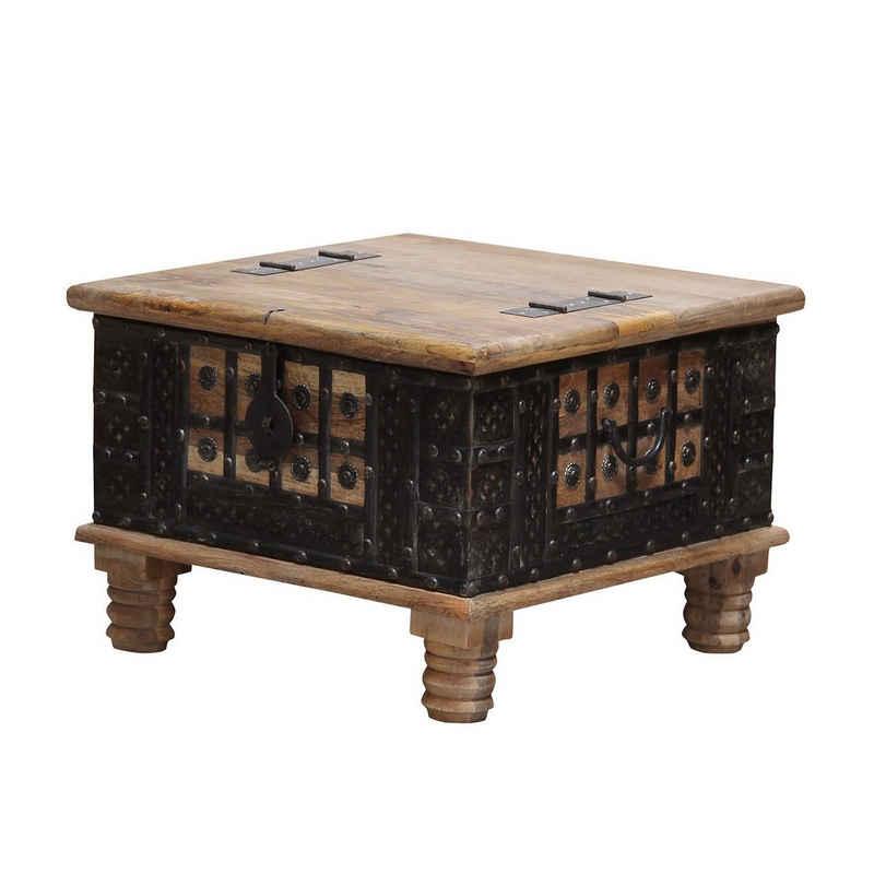 Casa Moro Truhentisch »Orientalischer Truhentisch Hadis 60x60x40 cm (BxTxH) aus Echtholz Mango mit Metallapplikationen verziert, Orient Holz-Truhe Vintage Couchtisch mit klappbarer Tischplatte, CAC3201070«