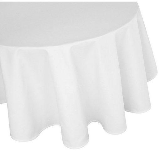 TextilDepot24 Tischdecke »runde Tischdecke aus 100% Baumwolle - Damast - Farbe weiß - diverse Größen«