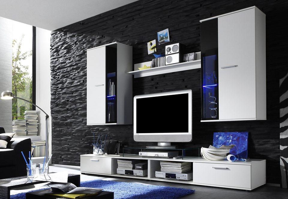 Wohnwand (5tlg.) in weiß-schwarz