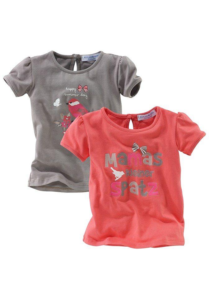 Klitzeklein T-Shirt (Packung, 2 tlg., 2er-Pack) in rot+braun