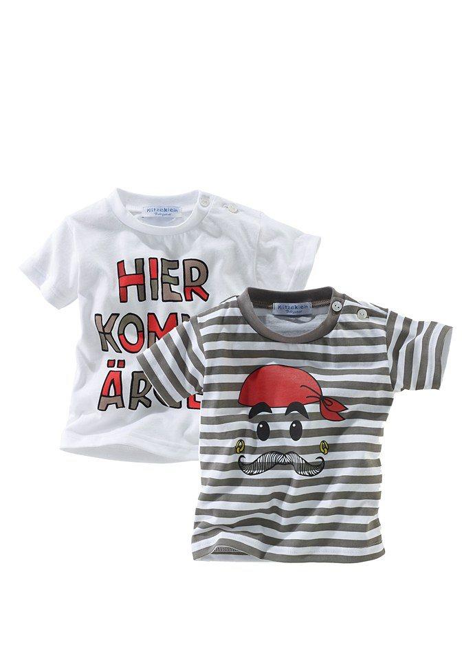 Klitzeklein T-Shirt (Packung, 2 tlg., 2er-Pack) in gestreift+weiß