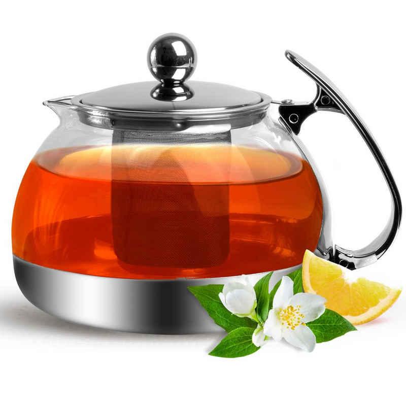 Deuba Teekanne, Glas Mit Siebeinsatz 1200ml Herausnehmbaren Edelstahl Filter Sieb Teesieb Hitzebeständig Glaskanne Deckel