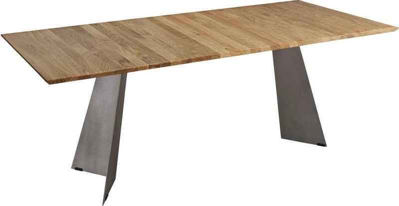 K+W Komfort & Wohnen Esstisch »5252«, Massivholz, Wildeiche natur oder bianco, Untergestell in Metall stahlgrau, 3 Breiten wählbar