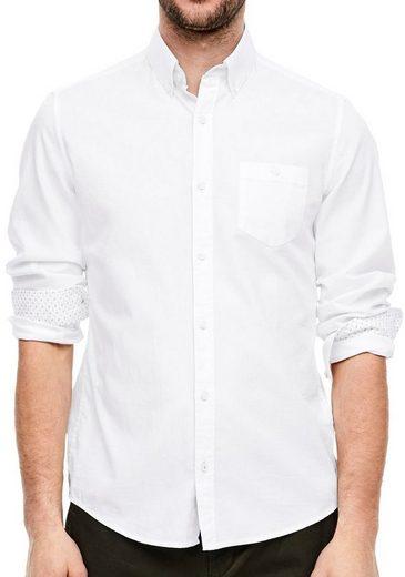 Schlussverkauf s.Oliver Langarmhemd mit kontrastfarbenen Innenmanschetten