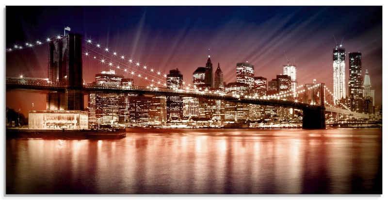 Artland Glasbild »Manhattan Sonnenuntergang«, Brücken (1 Stück)