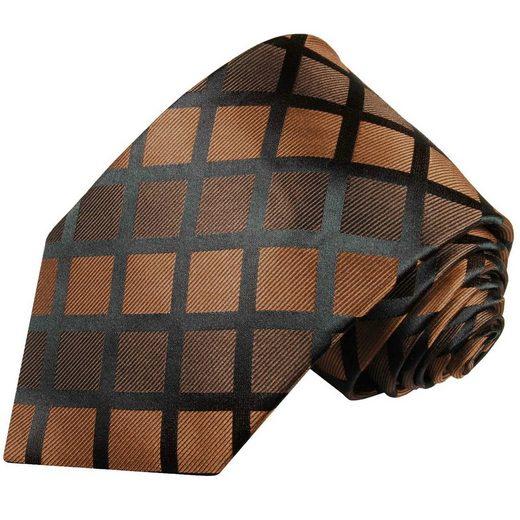 Paul Malone Krawatte »Herren Seidenkrawatte Schlips modern kariert 100% Seide« Schmal (6cm), braun schwarz 485