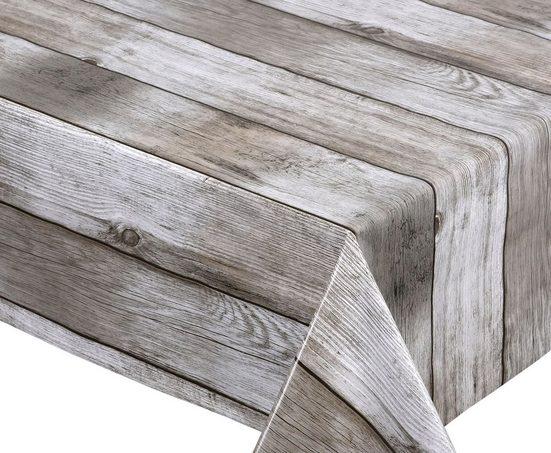 Beautex Tischdecke »Wachstuchtischdecke glatt Holz beige abwischbar Garten Tischdecke RUND OVAL ECKIG, Größe wählbar« (1-tlg)