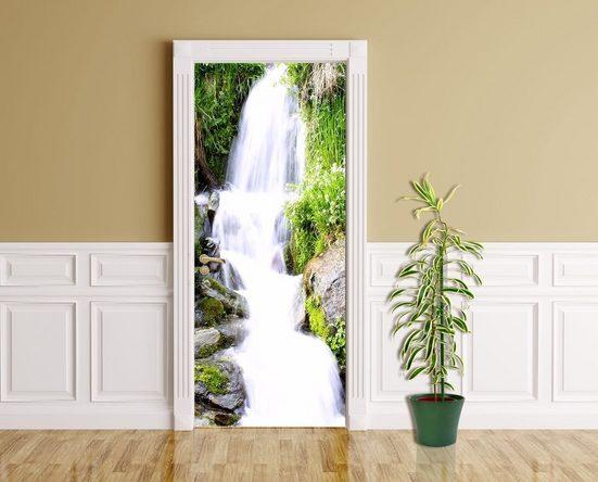 Bilderdepot24 Türtapete, Kleiner Wasserfall, selbstklebendes Vinyl