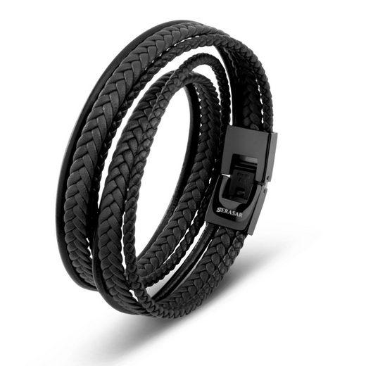 SERASAR Lederarmband »Herrenarmband Leder Maximum Leather« (1-tlg), aus Echtleder, Länge durch extra Glied verstellbar