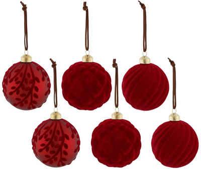 my home Weihnachtsbaumkugel (6 Stück), mit Samtdekoration
