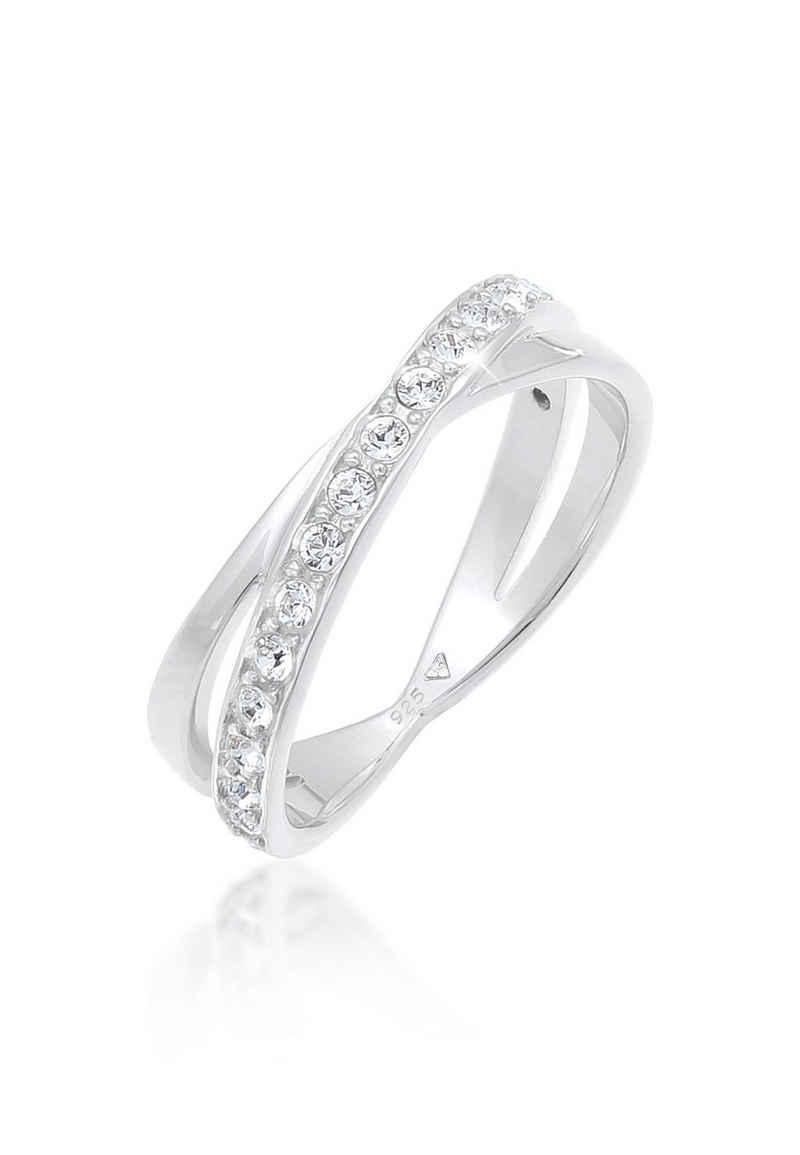 Elli Fingerring »Wickelring Kristalle 925 Silber«, Wickelring