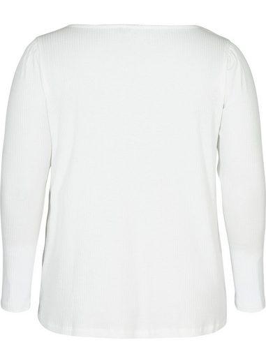 Zizzi Langarmbluse Große Größen Damen Ripp Bluse mit langen Puffärmeln und V Ausschnitt
