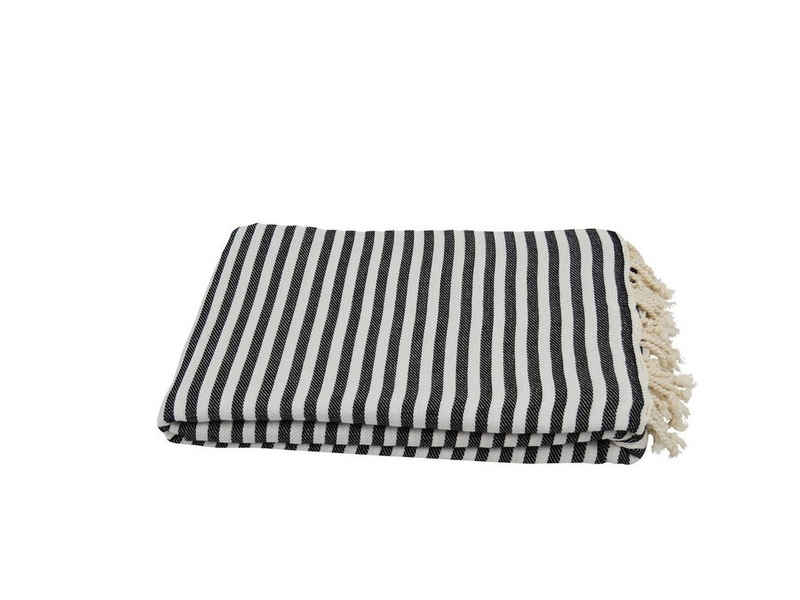 Tagesdecke »Wohndecke, Zebra schwarz ca. 220x260 cm«, my Hamam, mit schönen Fransen