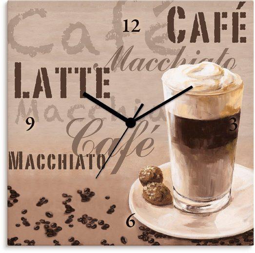 Artland Wanduhr »Kaffee - Latte Macchiato« (lautlos, ohne Tickgeräusche, nicht tickend, geräuschlos - wählbar: Funkuhr o. Quarzuhr, moderne Uhr für Wohnzimmer, Küche etc. - Stil: modern)