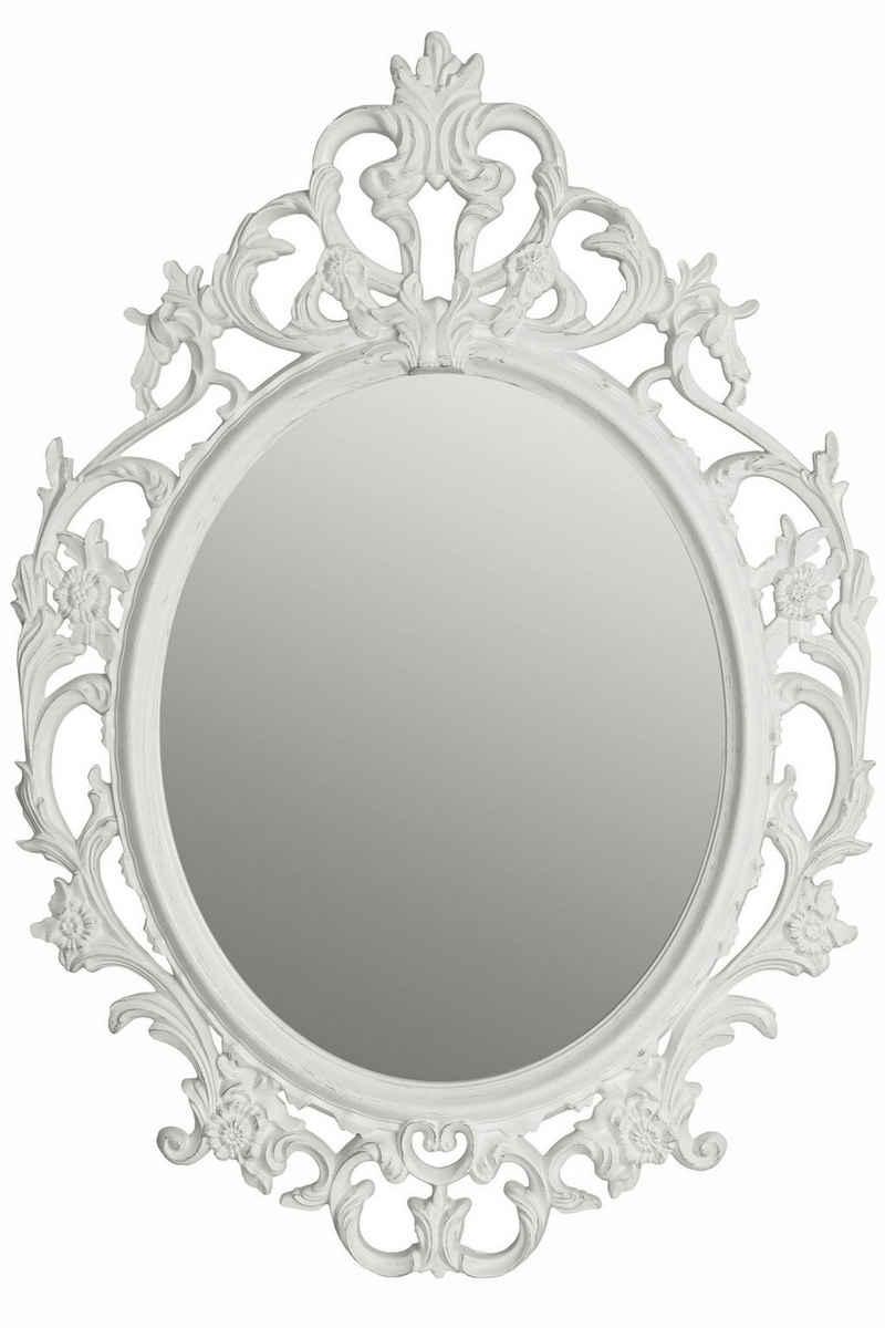 elbmöbel Wandspiegel »Spiegel Oval Barock weiß Barockspiegel«, Spiegel barock weiß Wandspiegel oval Barockspiegel Badspiegel