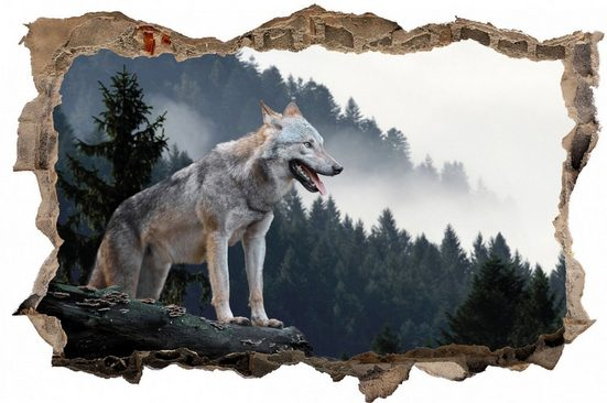 DesFoli Wandtattoo »Wolf Wald Nebel Landschaft D2205«