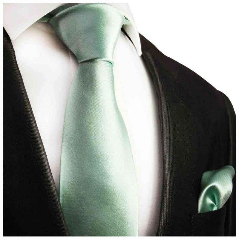 Paul Malone Krawatte »Herren Seidenkrawatte Schlips mit Tuch modern uni satin 100% Seide« (Set, 2-St., Krawatte mit Einstecktuch) Breit (8cm), mintgrün 488